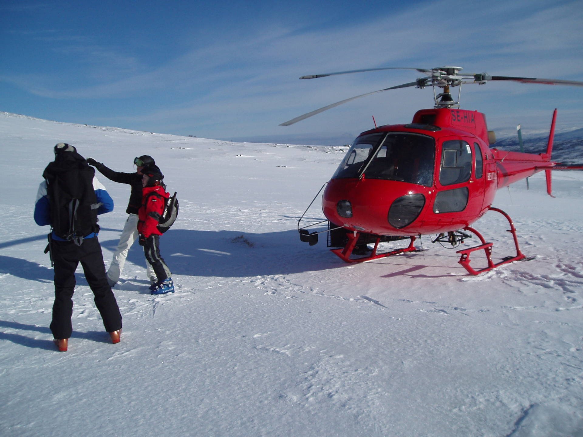 Helikopterskidåkning/ heliski i Snasahögarna, Åre